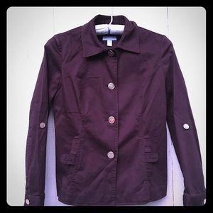 SM Charter  Dark Burgundy Gold Button denim jacket